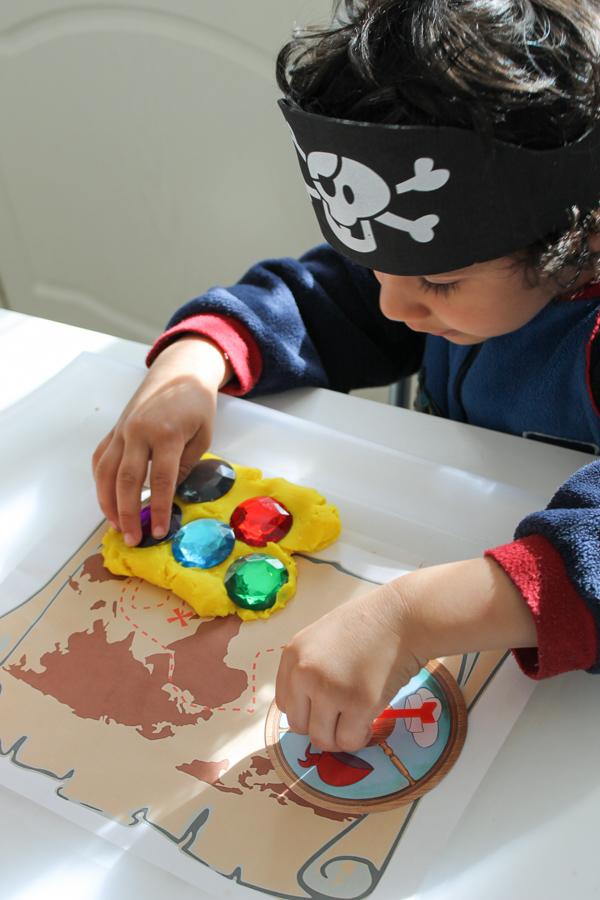 pirate playdough with gems