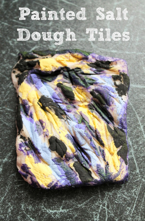 painted salt dough tiles, a fun way to explore colour and texture