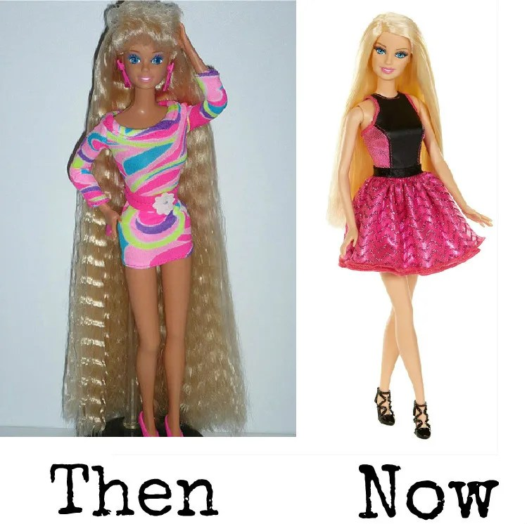 Barbie in the 90s and the 00s. Then and now