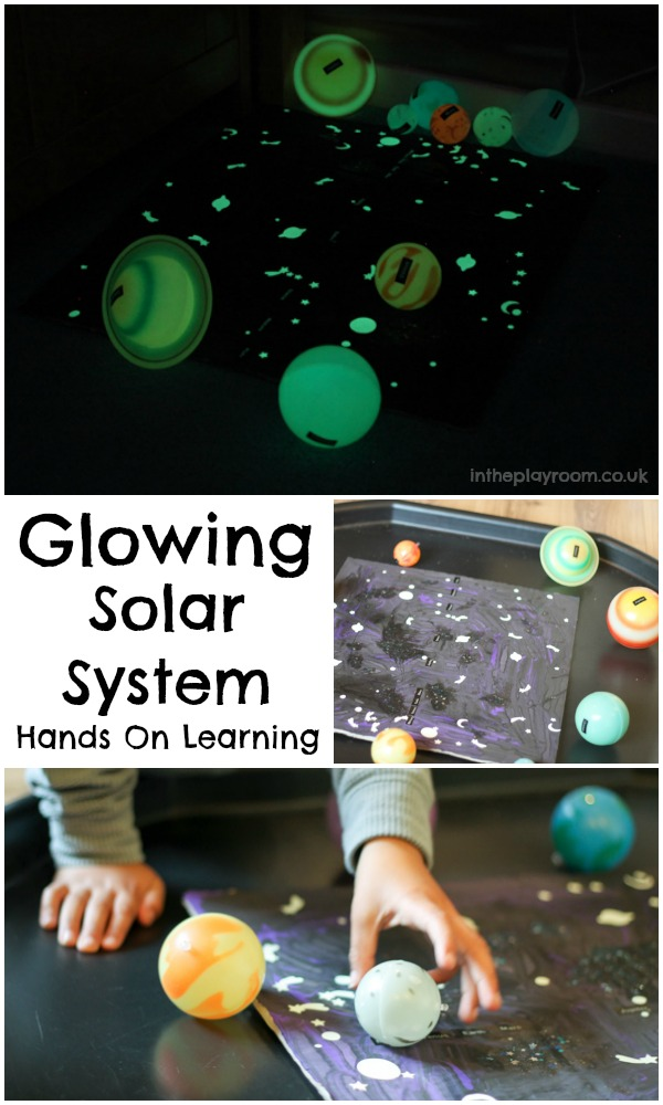 glowing solar system sensory play. Fun hands on learning for the space topic