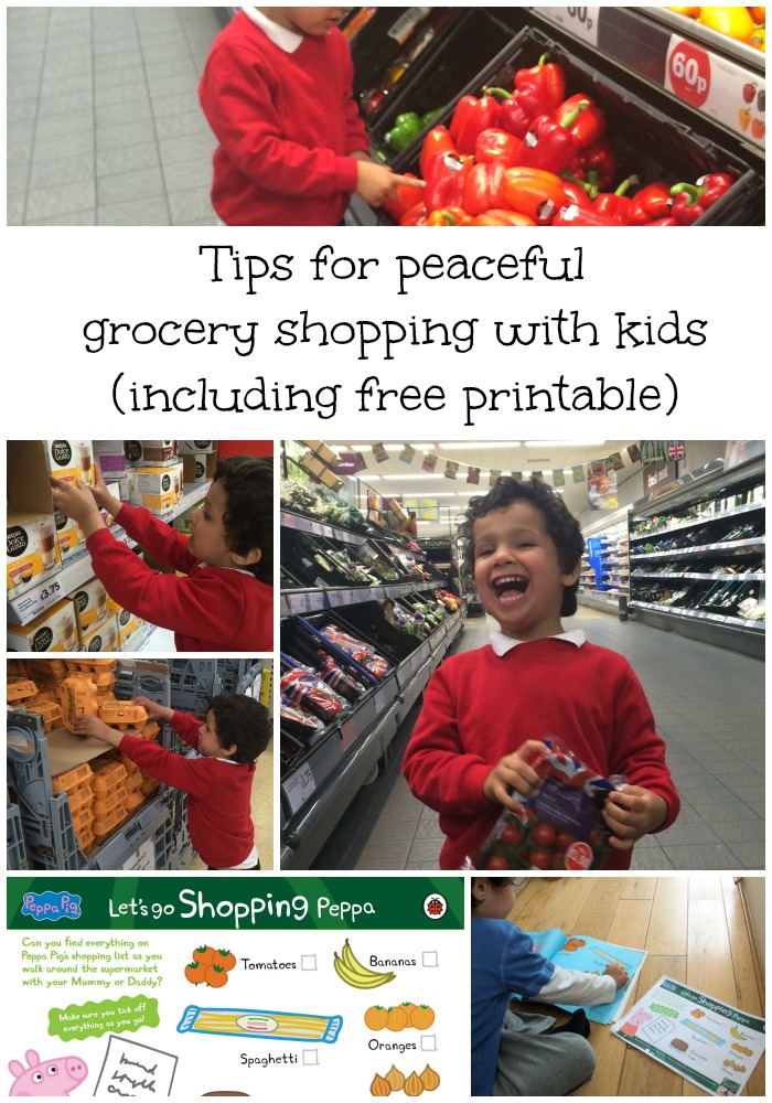 tips for peaceful grocery shopping with kids, including free shopping list printable checklist for them to tick off. These simple tips make supermarket shopping less stressful