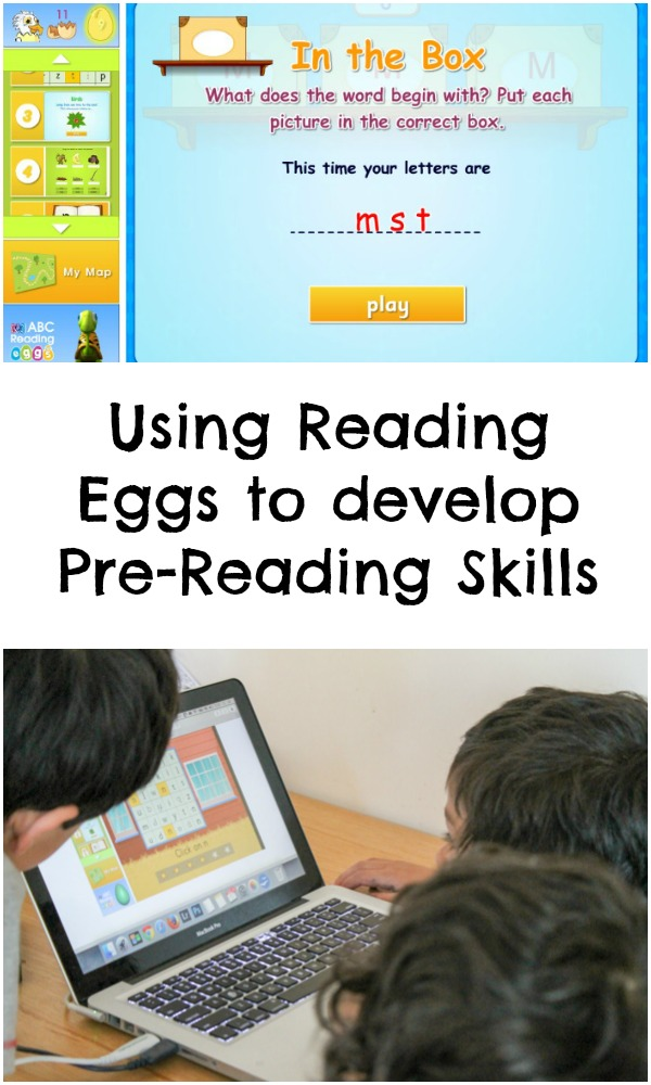 Using reading eggs to work on early reading skills, like phonological awareness , rhyming and listening for beginning sounds