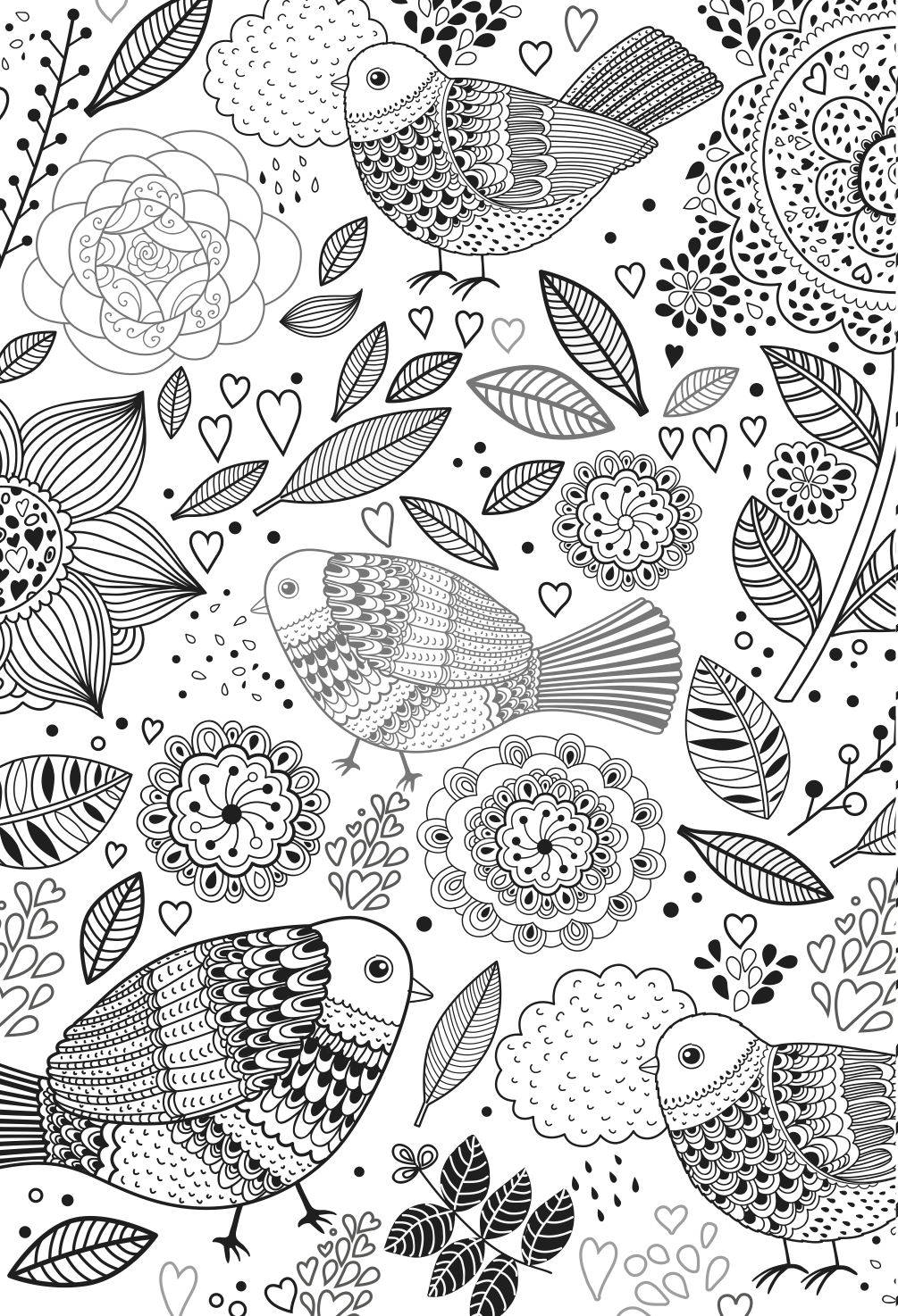 birds colouring page including mandala designs and leaves. stress relieving relaxing colouring for grown ups