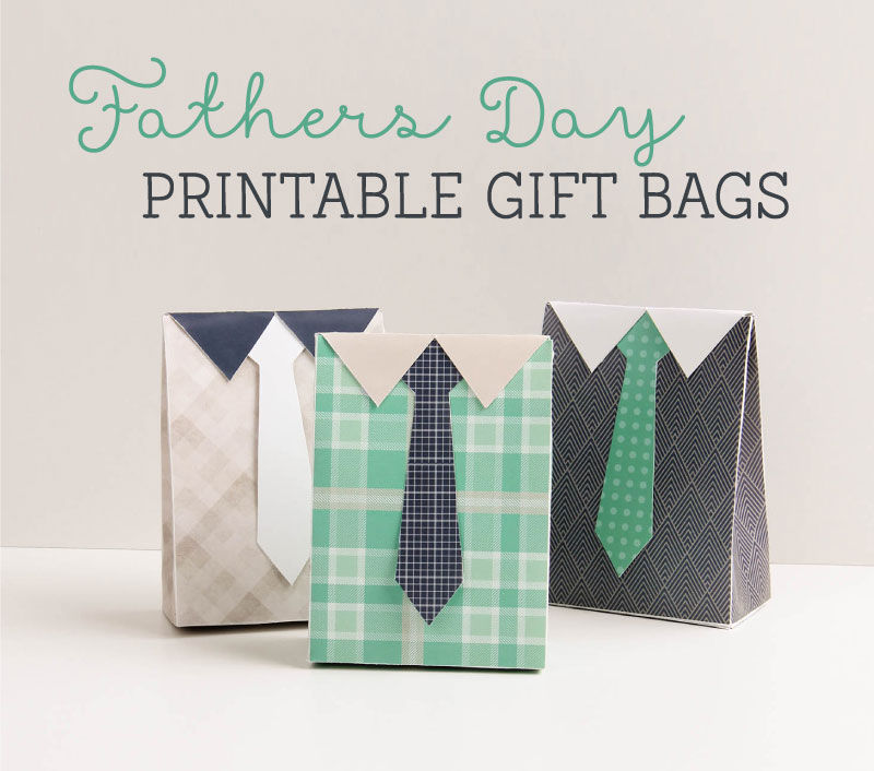 Printable fathers day gift bags in a tie design. Simple origami gift bag to print out and fold
