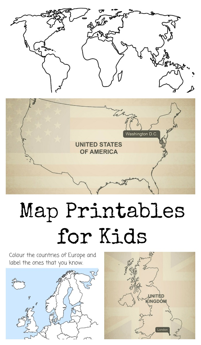Map printables for kids to colour and label
