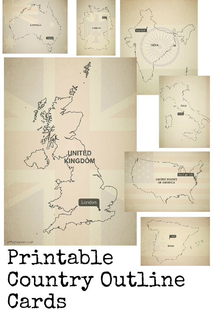 Printable country outline cards including UK, USA, Australia, India and more