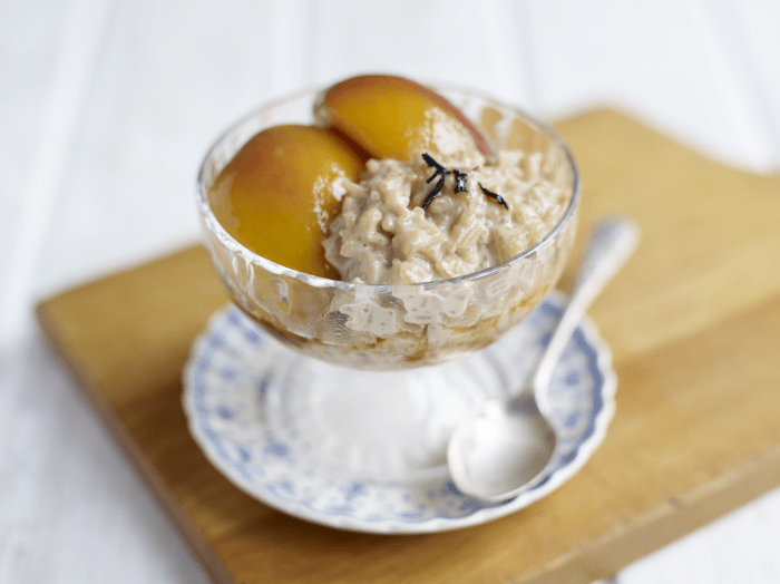 amira rice pudding with poached nectarines