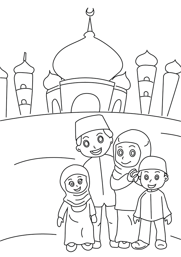 Muslim Family Colouring Page With A Mosque