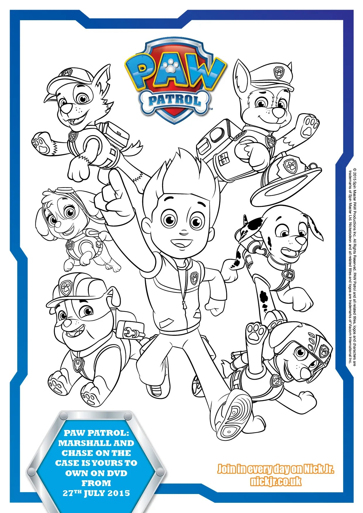 Paw patrol colouring page printable
