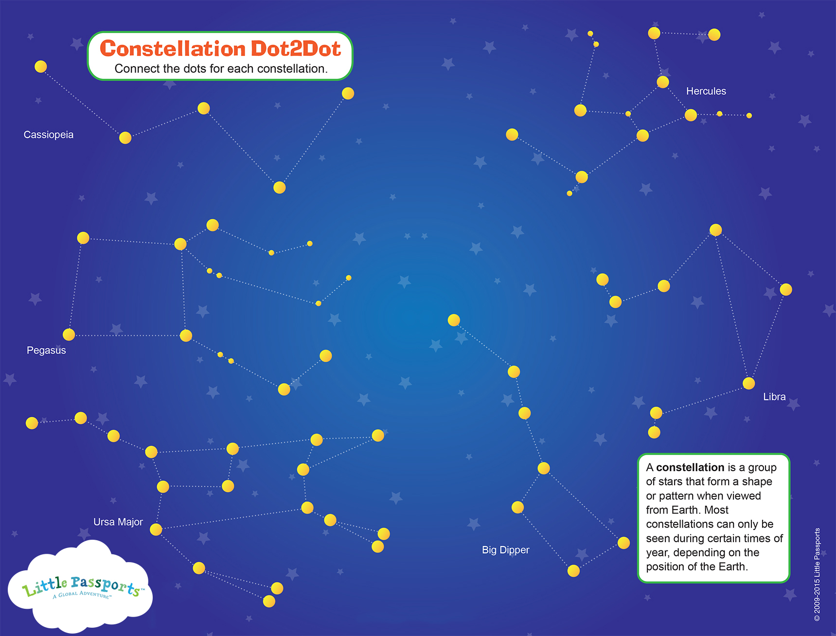 Constellation connect the dots activity printable. Fun way to learn!