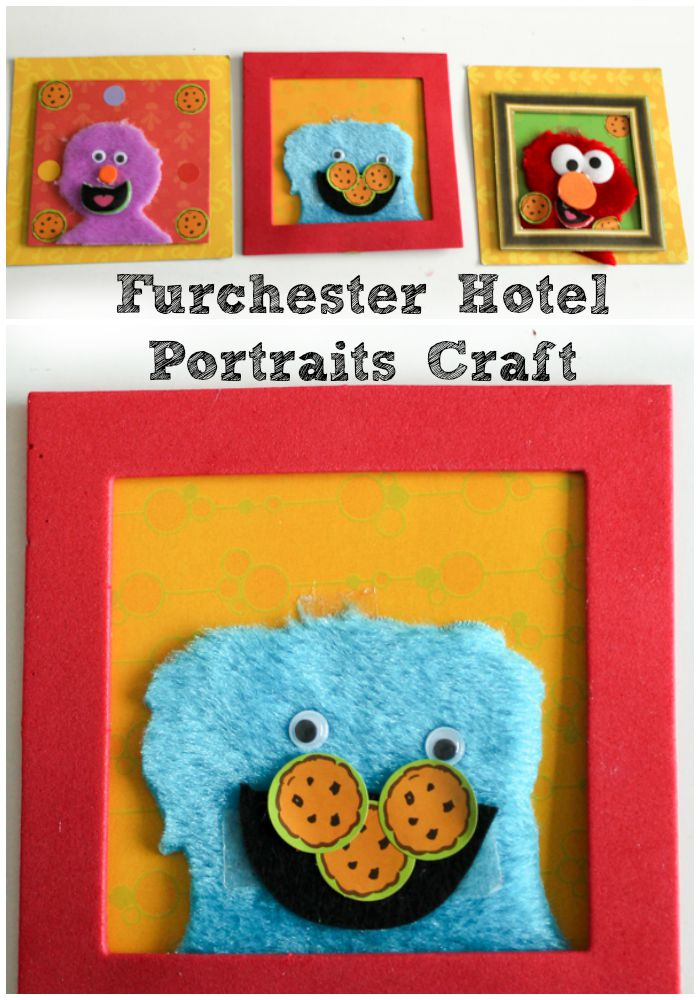 Furchester Hotel portraits craft for kids using furry fabric scraps. Make your favourite sesame street characters - Cookie monster, Elmo, and Phoebe too