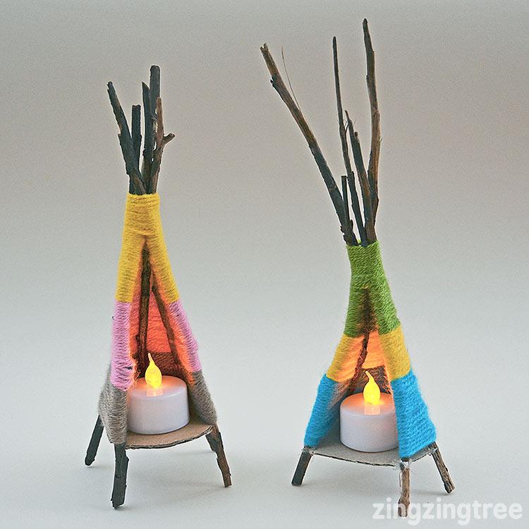 Yarn tipi craft by zing zing tree