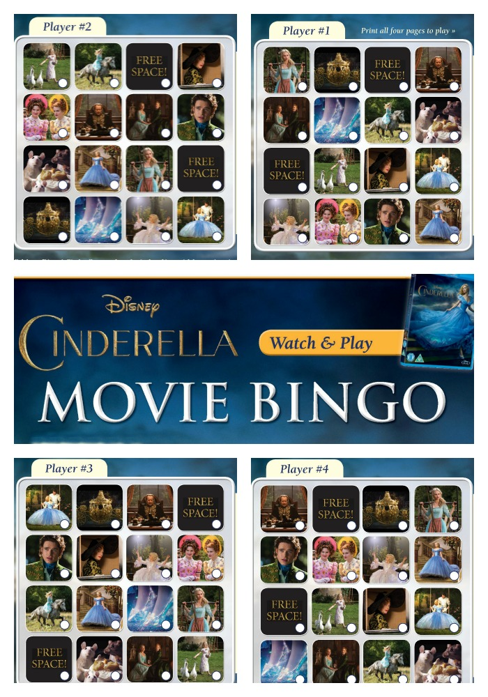 Cinderella movie bingo - watch and play! Based on the new live action disney movie from 2015. Free printable set of 4 bingo boards