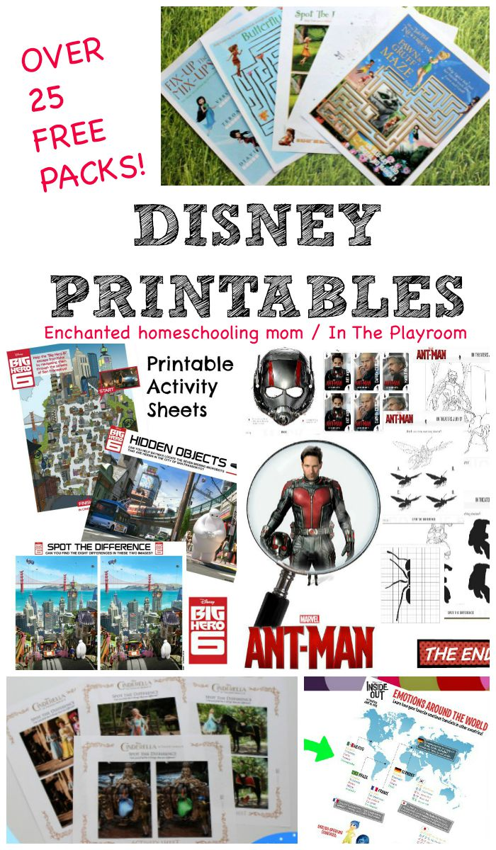 Over 25 free packs of Disney printables including inside out, ant-man, big hero 6, cinderella, tinker bell and the never beast, and lots more
