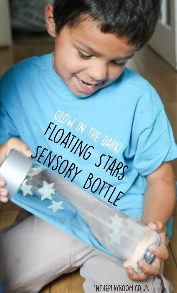 Glow in the dark floating stars sensory bottle or discovery bottle. Great for calm down and relaxation