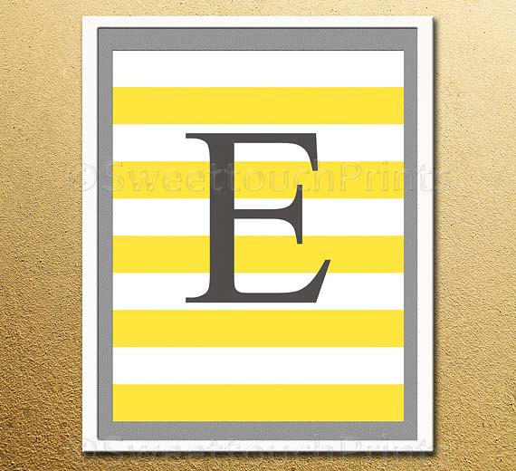 personalised initial nursery print with stripes