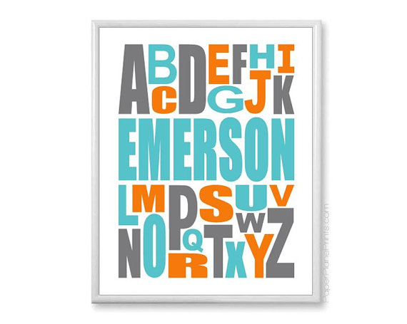 personalised alphabet nursery print with child's name