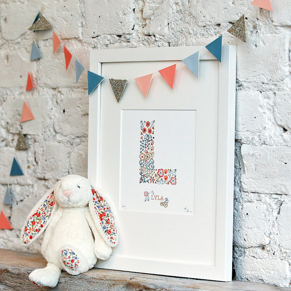 personalised initial nursery print in vintage floral pattern