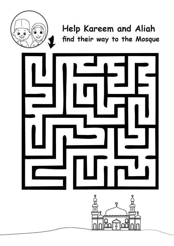 "Islamic maze printable for kids in Ramadan, Eid or any time. ""Help kareem and Aliah find their way to the mosque"". Colour and complete the maze"