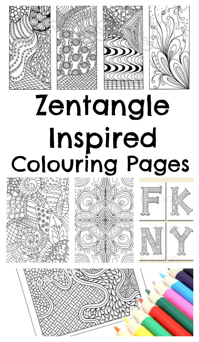 zentangle inspired colouring page printables