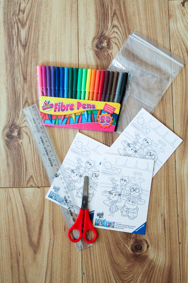 Supplies for DIY colour in puzzle craft for kids to make