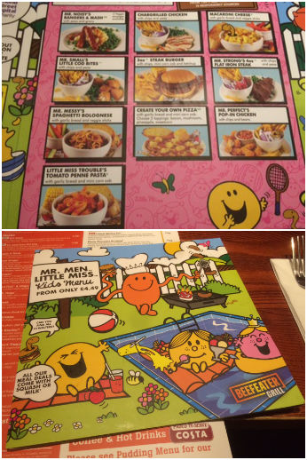 Kids Mr Men Menu in Beefeater
