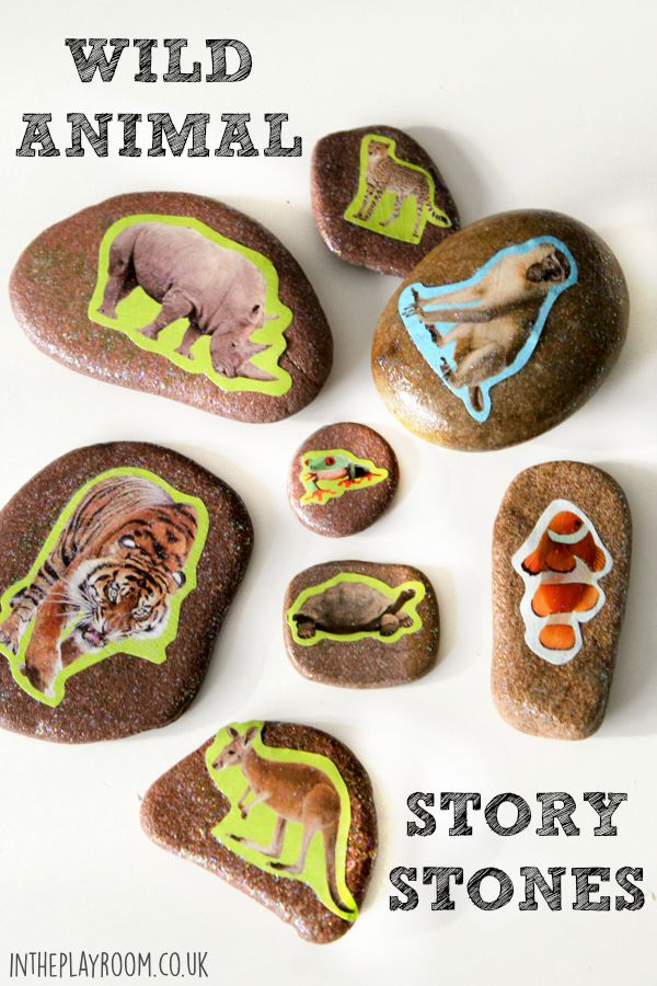 Wild animal story stones. Great to tie in with an animal theme or trip to the zoo. This method  is the easiest way of making story stones, preschoolers can do it themselves