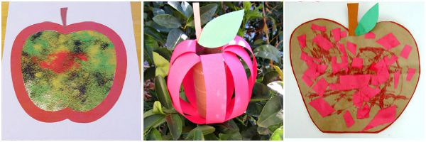 fun apple crafts for kids. Great for autumn fall season or back to school