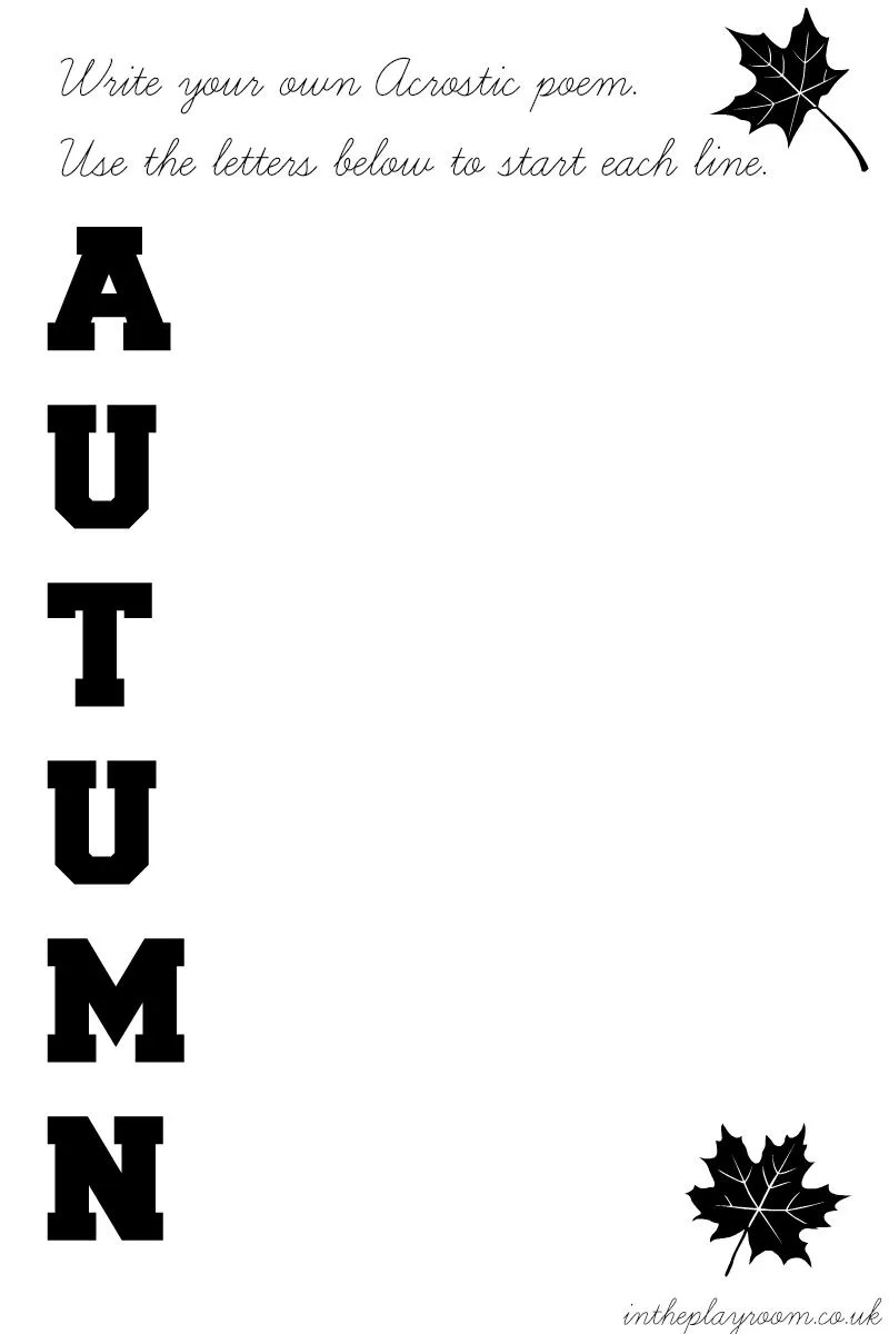 Autumn acrostic printable template. Fun fall poetry literacy idea for kids