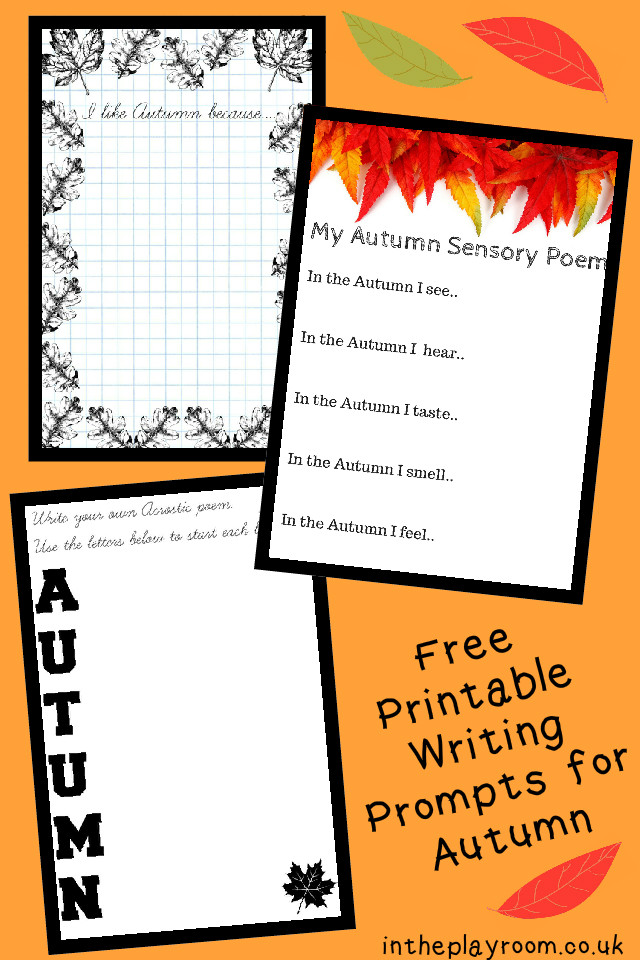 picture relating to Free Printable Writing Prompts titled Absolutely free Printable Autumn Slide Creating Prompts for Children - Within The