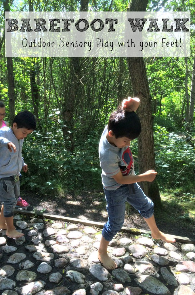 Barefoot walk. Outdoor active sensory play, experiencing textures with your feet. So much fun!
