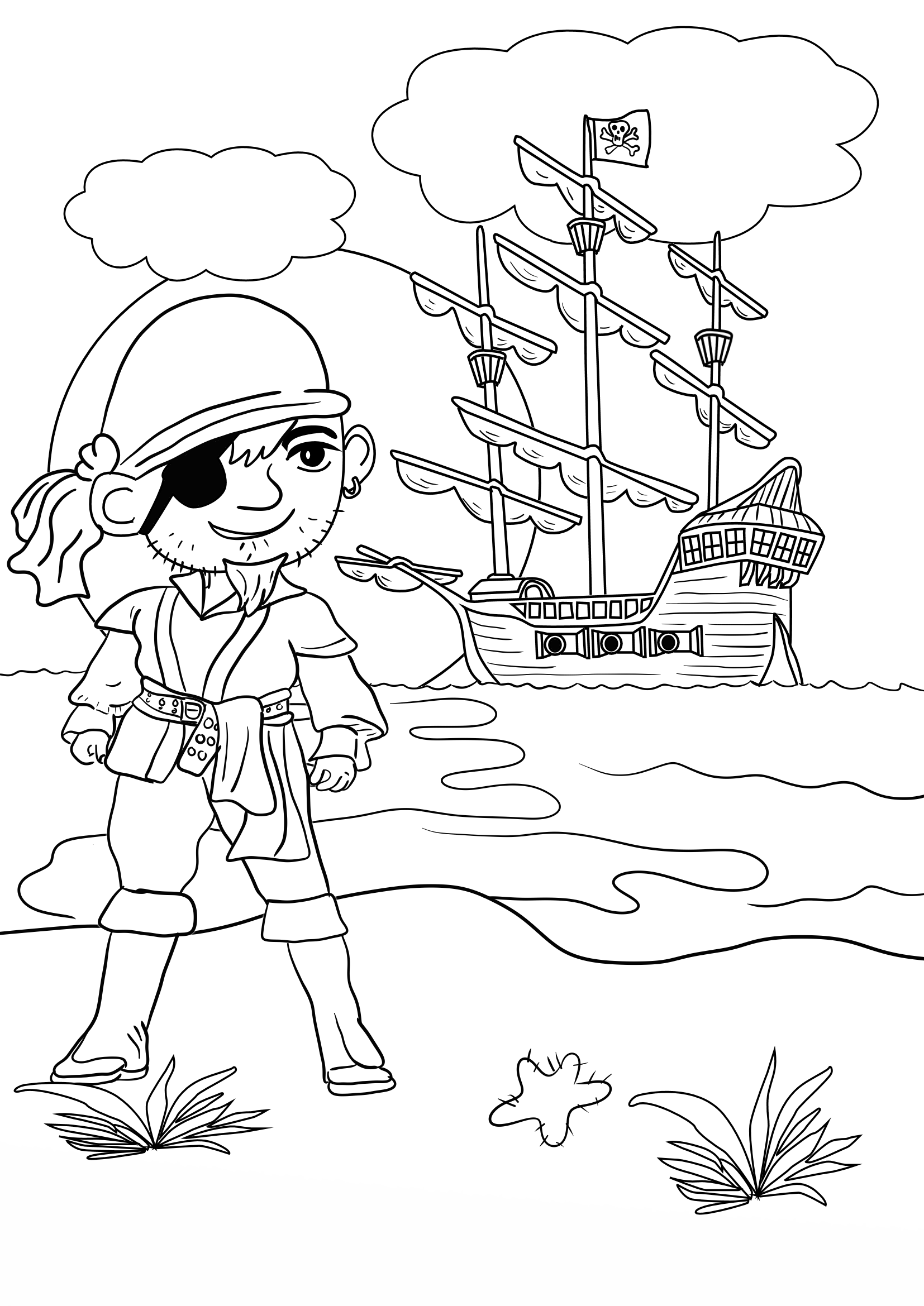 Pirate treasure coloring pages - photo#36
