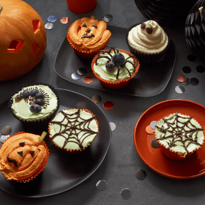 Pumpkin and ginger Halloween cupcakes, great for Halloween parties