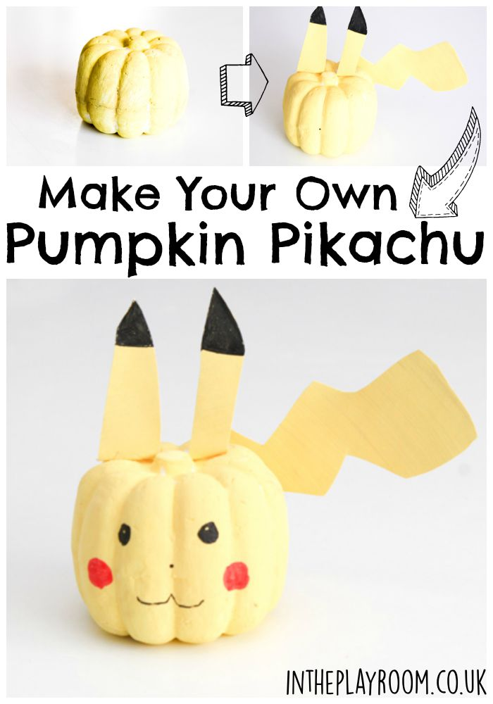 How to make an easy no carve pumpkin Pikachu. Cute idea for kids who love Pokemon! This could not have been simpler
