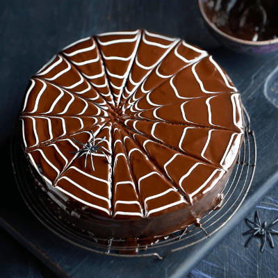 Chocolate spider web Halloween cake. Easy to make!