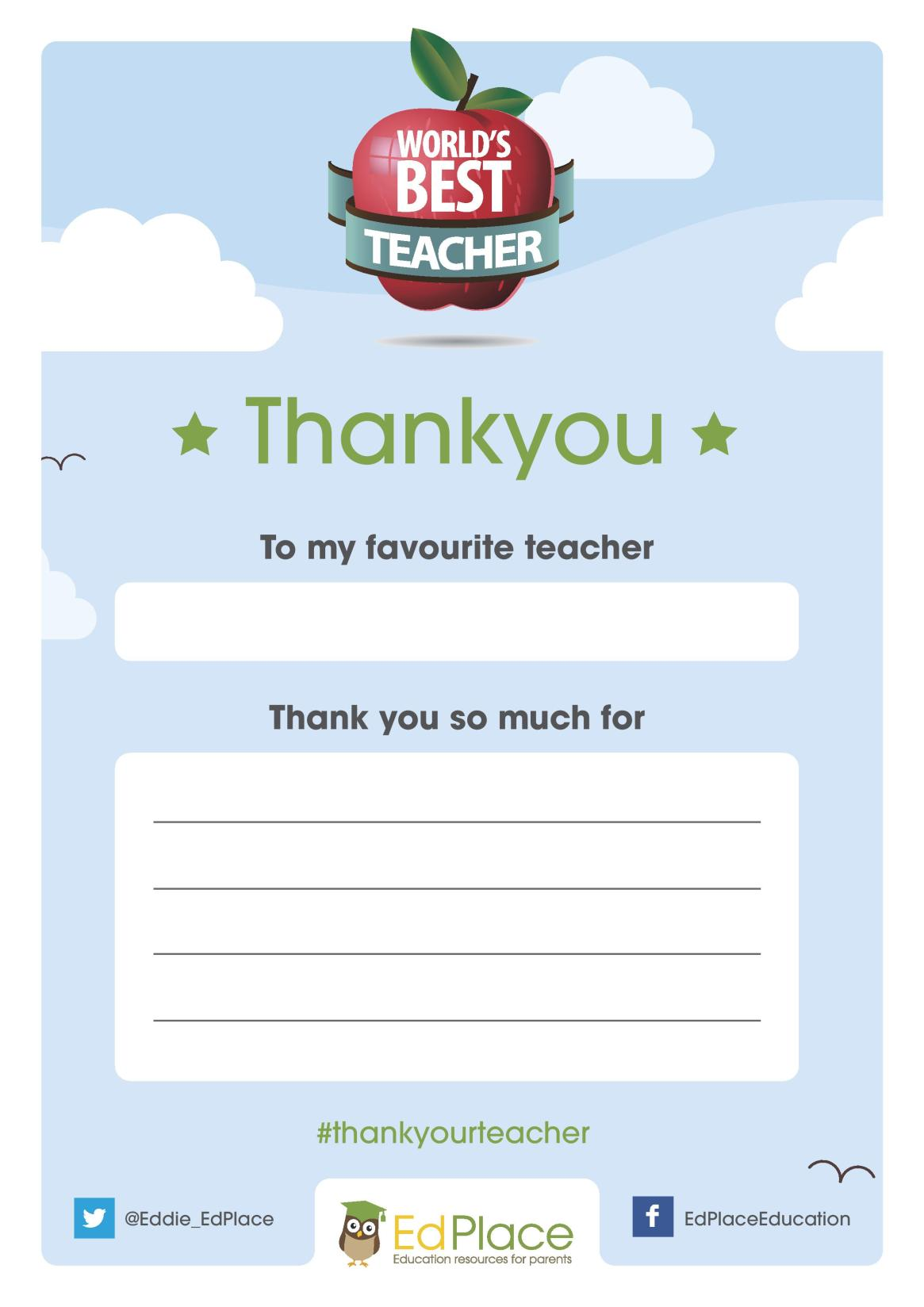 World Teachers Day printable thank you card to show appreciation for a favourite teacher