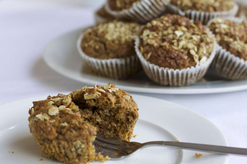 Energy boosting carrot, apple and chia muffins healthy recipe
