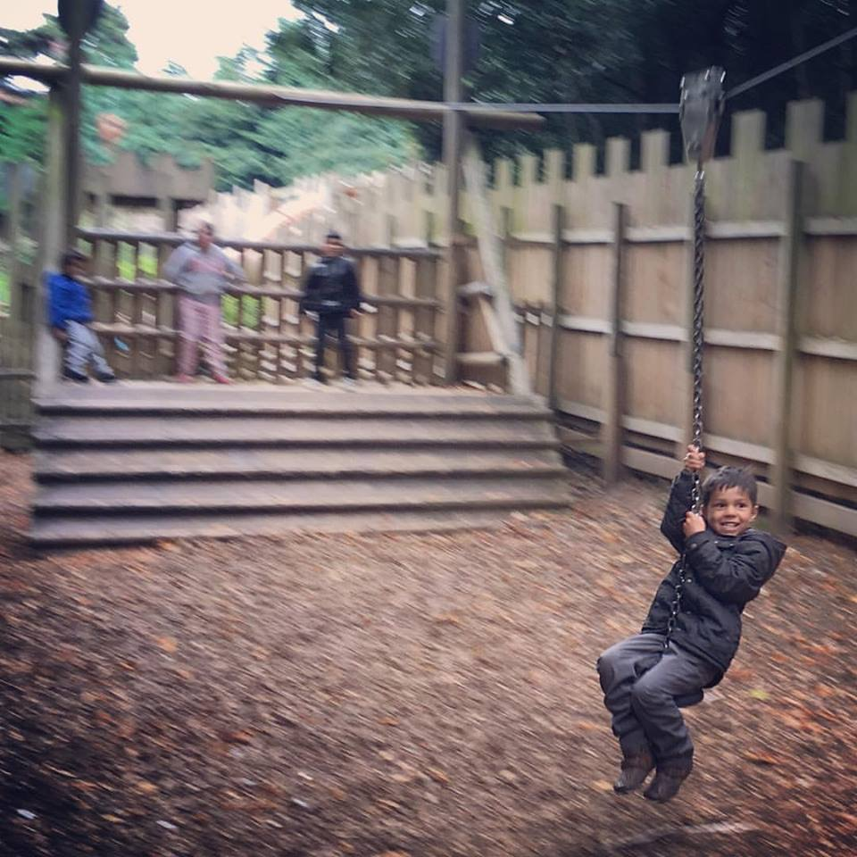 playground zipwire at warwick castle
