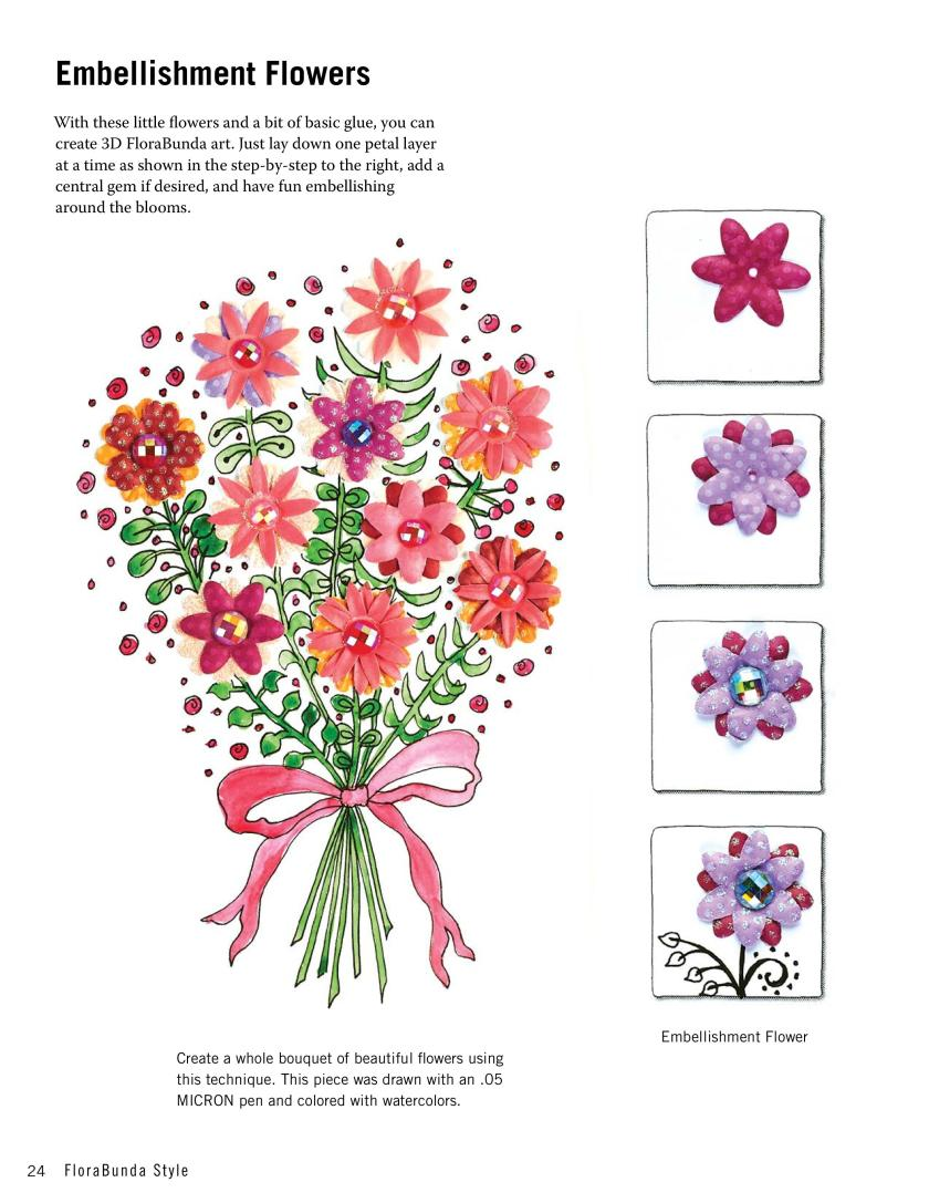 How to make 3d embellishment flowers from zentangle and doodle drawing