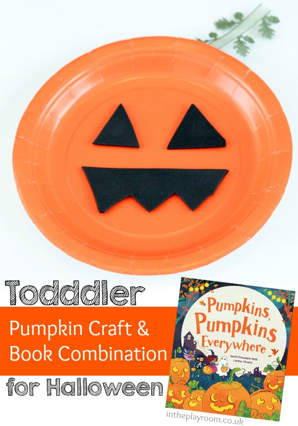 Easy paper plate pumpkin craft to go along with the book Pumpkins Pumpkins everywhere