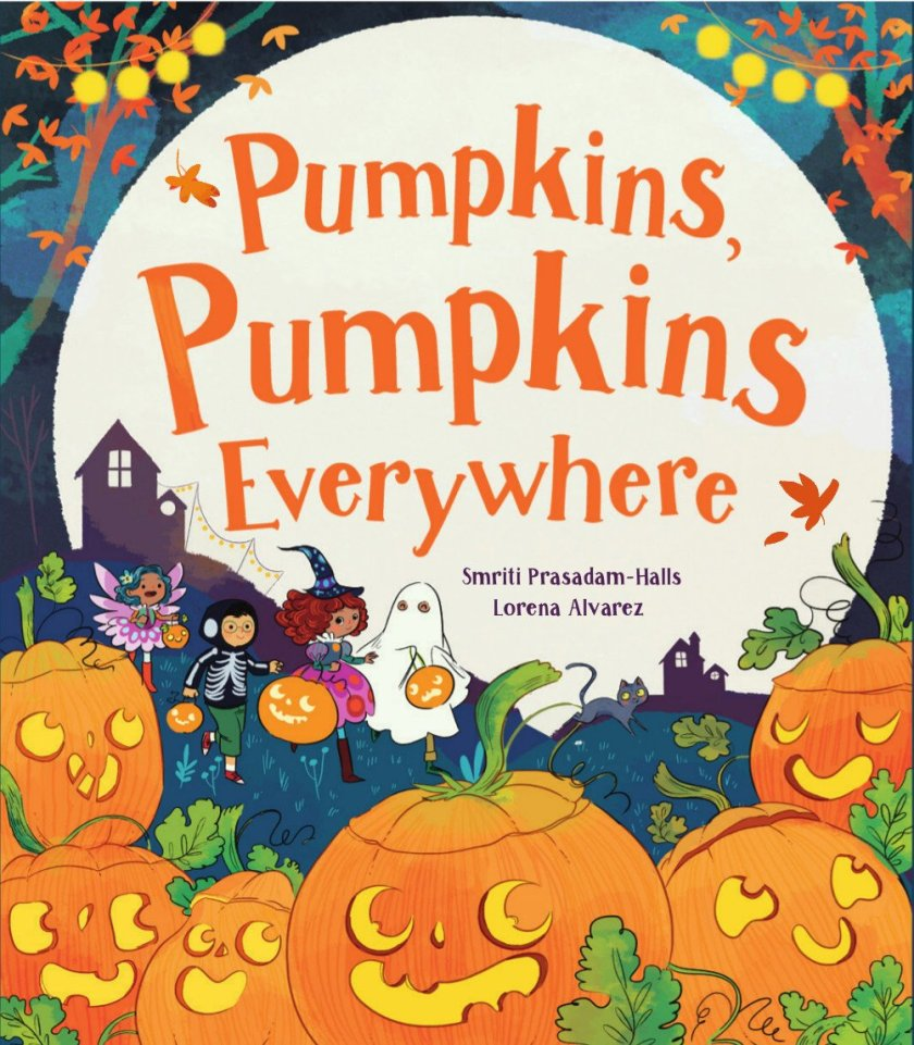 Pumpkins Pumpkins Everywhere Halloween rhyming picture book for kids . Cute story that teaches opposites
