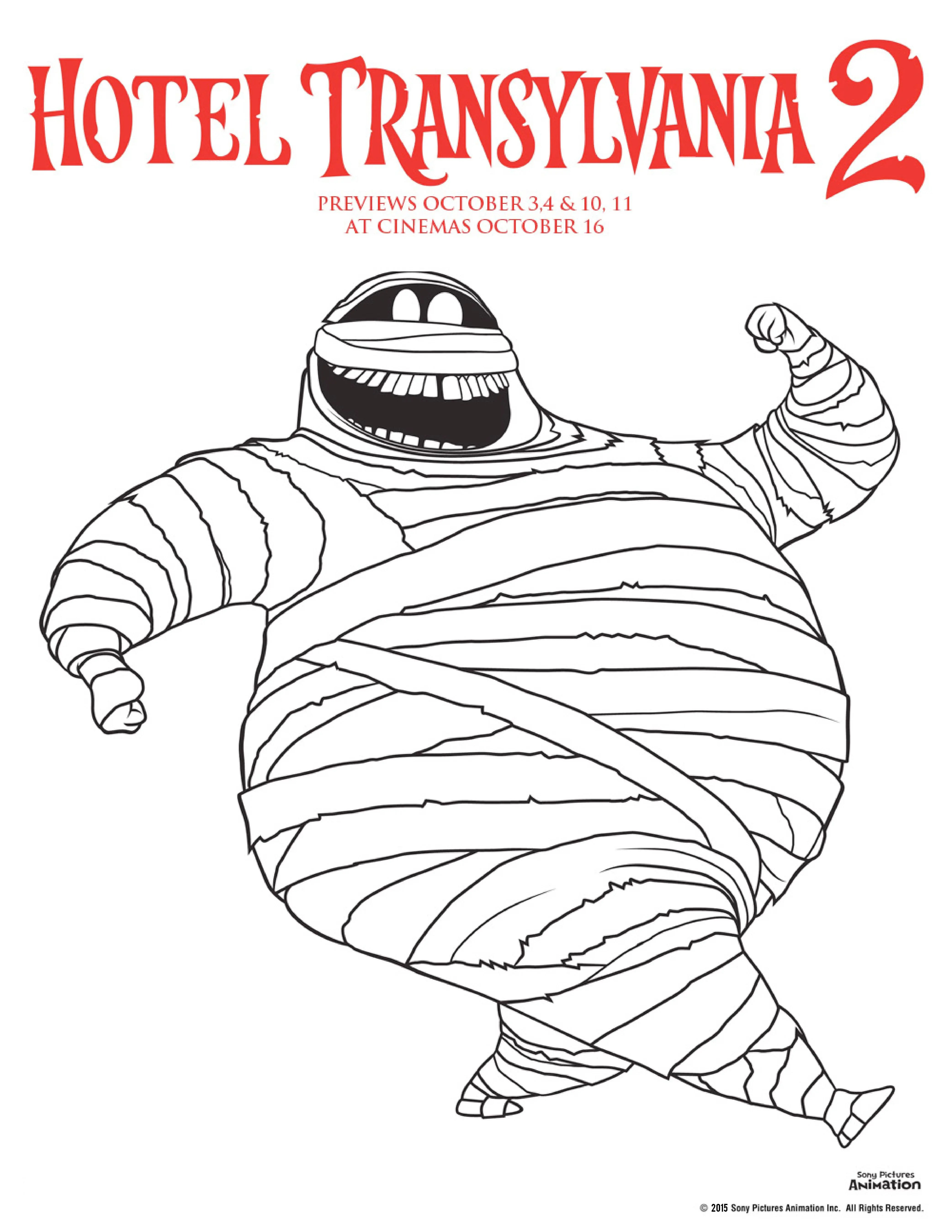 Hotel transylvania 2 colouring pages murray the mummy colouring sheet, perfect for Halloween