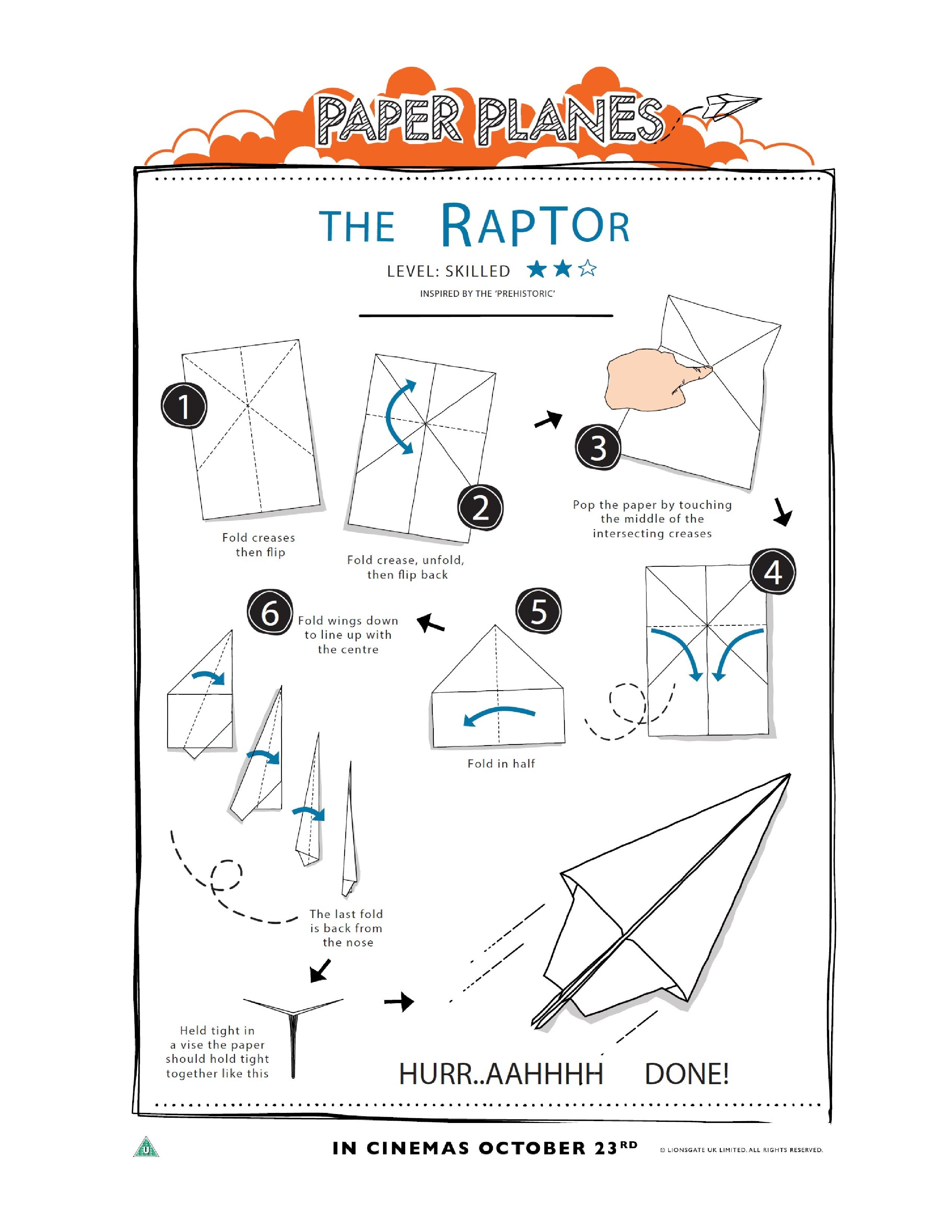 This is a picture of Influential Printable Paper Airplane Instructions