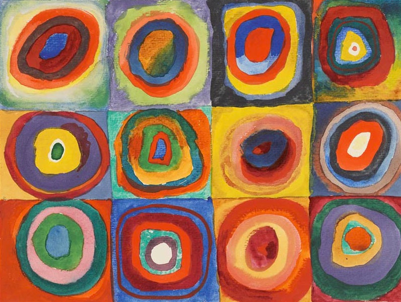 Wassily Kandinsky 1913 painting squares with concentric circles
