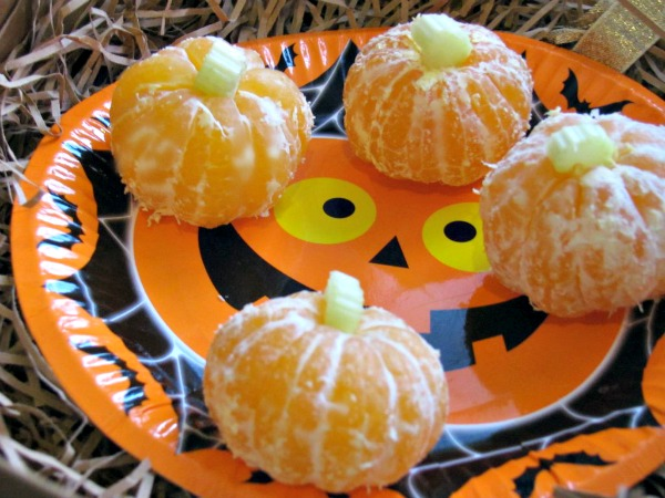 Pumpkin oranges made with celery stalks