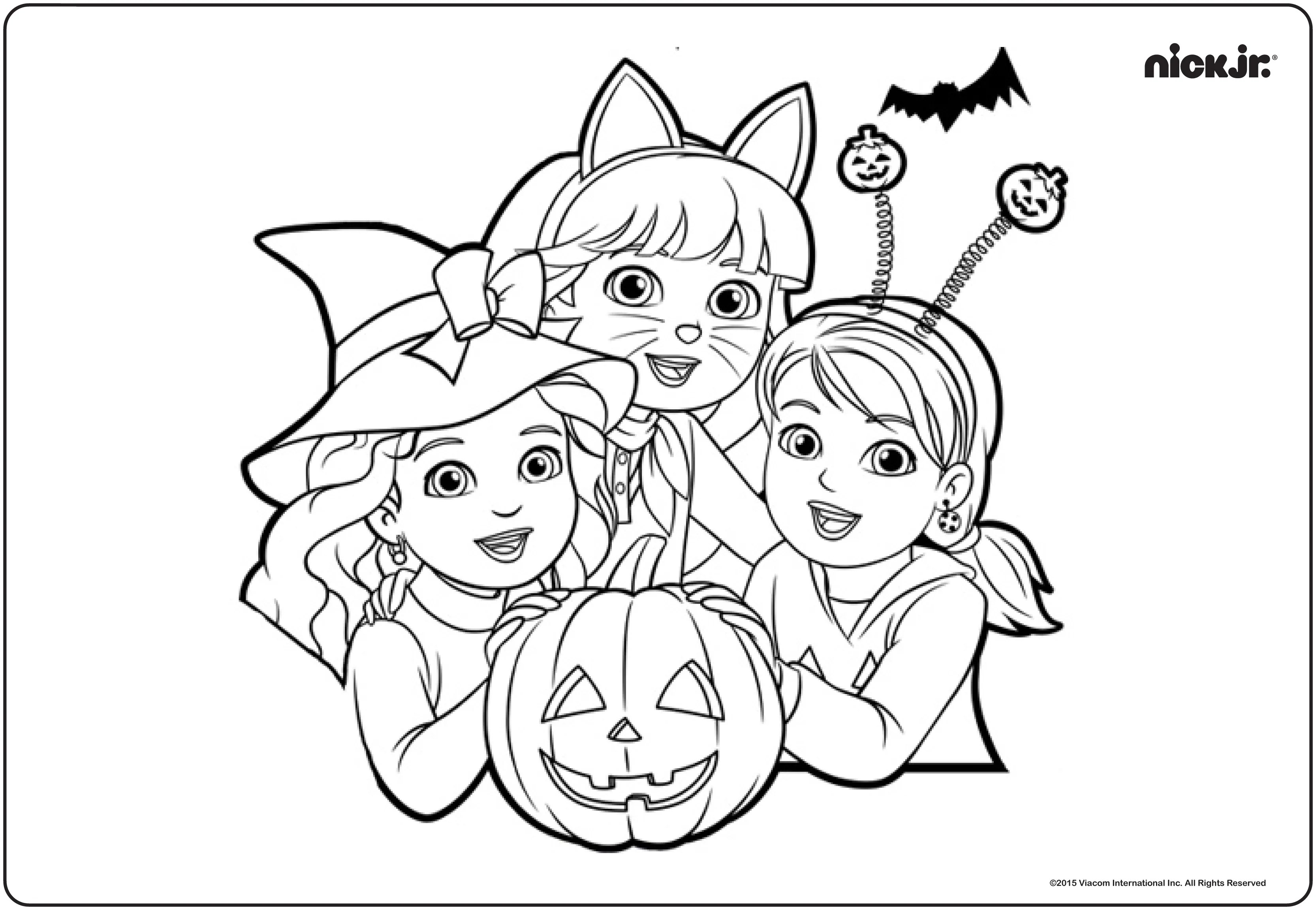 Nick Jr Halloween colouring page