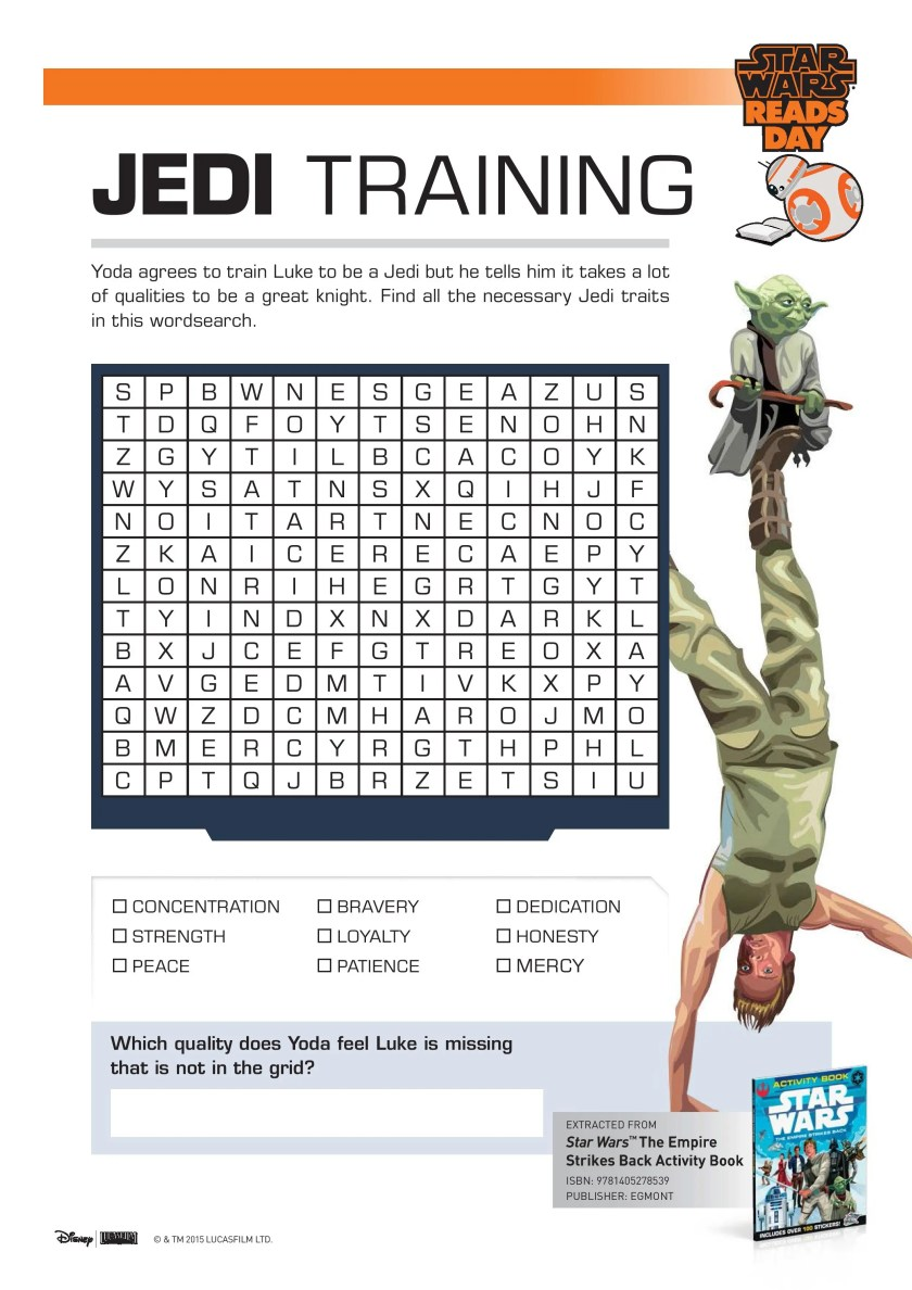 Star Wars Jedi Training Word Search printable activity for kids