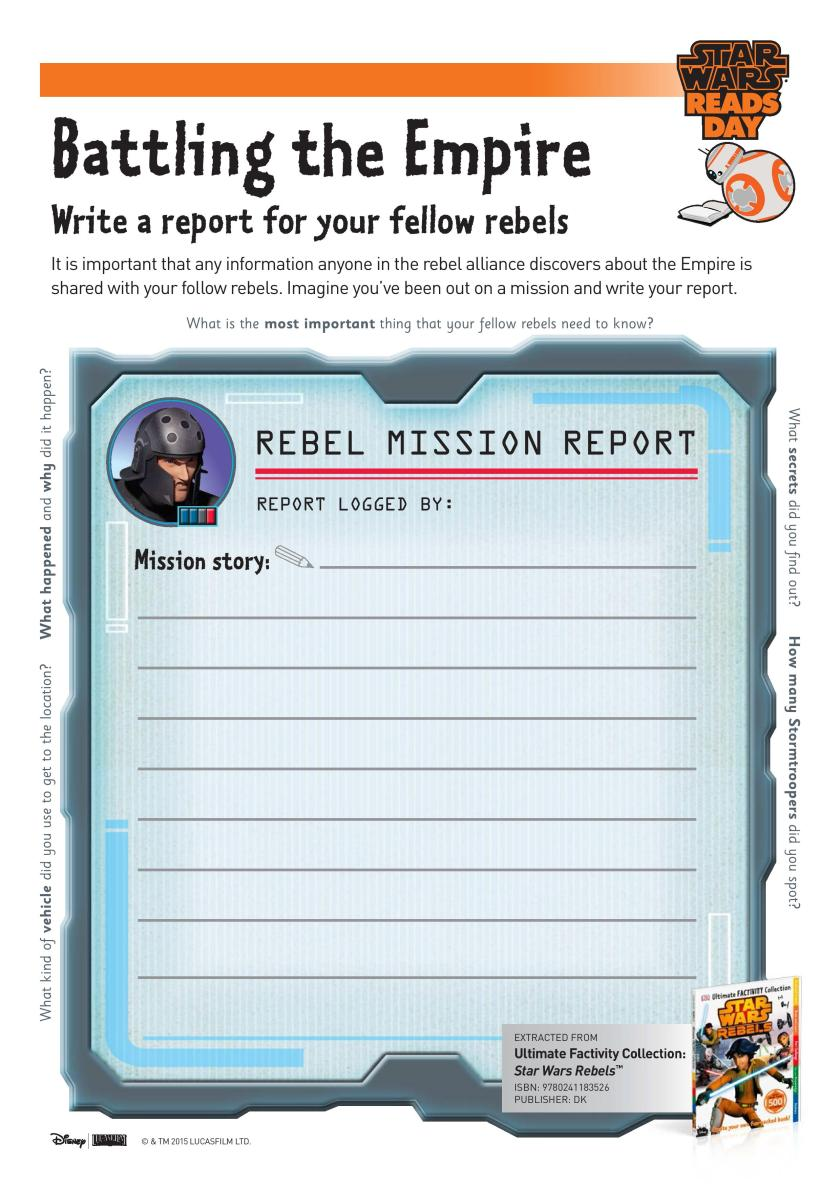 Star Wars Battling the Empire Writing Prompt Page printable. Great Star Wars themed learning idea