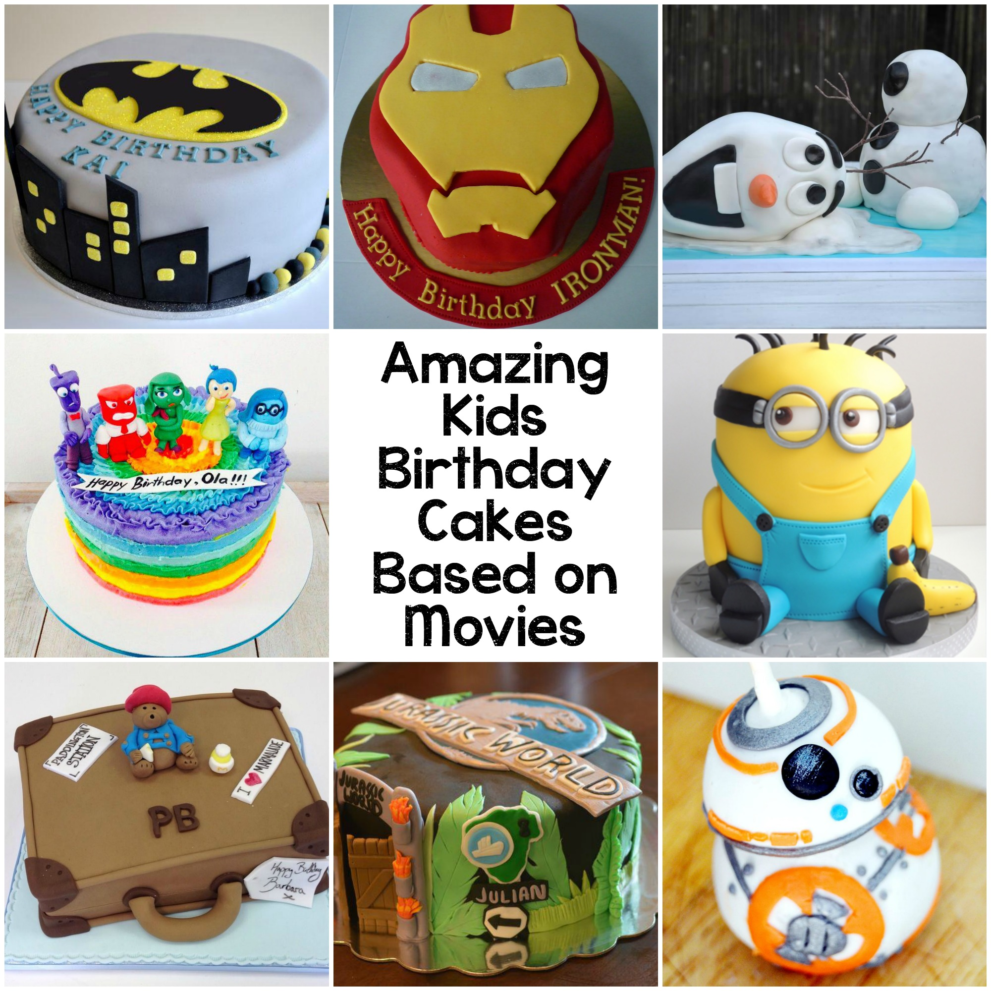 Kids birthday cakes based on movie characters