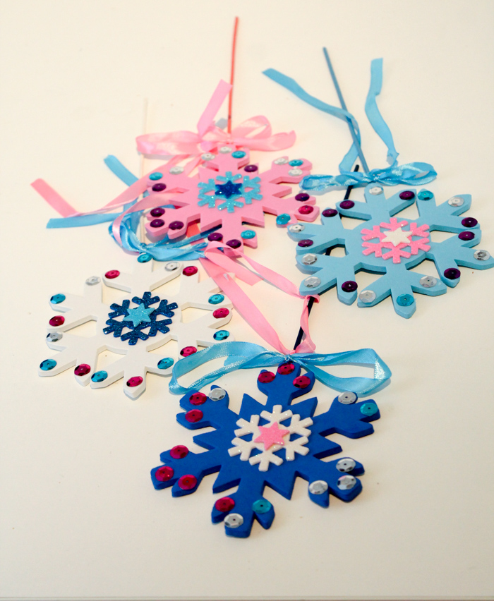 Winter magic snowflake wand craft for kids